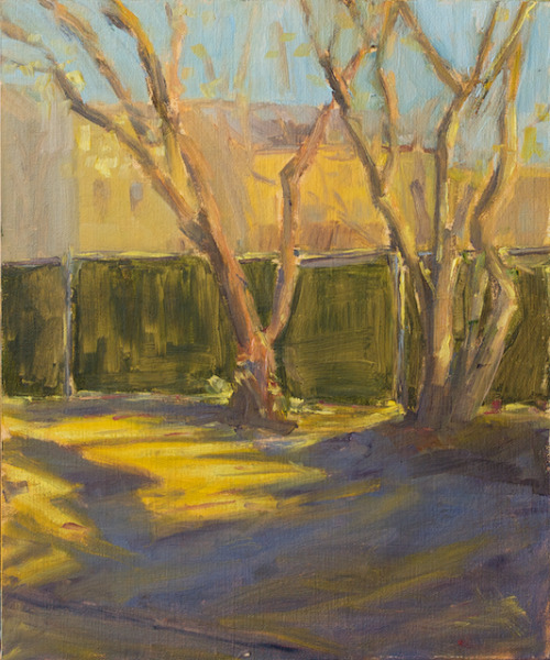 Southern Light on South Sheridan Street, Philadelphia, PA, oil on linen over panel, 10 x 12 inches, 2012 $675 plus to-be-determined domestic UPS ground shipping and handling. Click Shipping Details for UPS shipping. Transactions accepted via PayPal, please contact the artist.