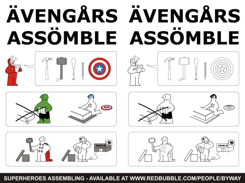 My 'Superheroes Assembling' T-shirt design is now available to buy in both colour and black & white over at my RedBubble store, redbubble.com/people/byway! You can also purchase prints of the design over at society6.com/byway and you can still vote for it to be printed over at Qwertee.com and OtherTees.com! | Facebook | RedBubble | Society6 | Tumblr | Flickr |