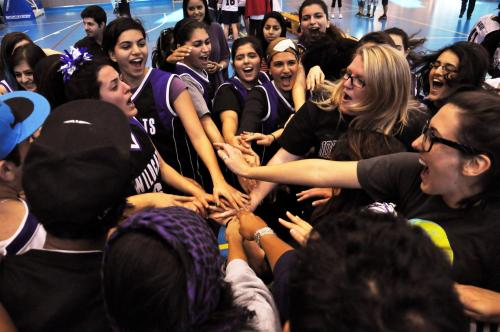 Big congrats to Northwestern University in Qatar's women's basketball team! They won the Qatari collegiate basketball league tournament championship over the weekend with a 26-21 victory over Qatar Academy! Co-captain and senior Dana Atrach, who helped start the team in her freshman year, was awarded the tournament's MVP trophy. Sophomores Maha Al-Ansari, Gena El Aker, and junior Sarah Sabry received all-star team awards. Go 'Cats!