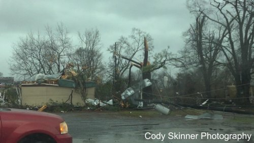 Damage in Adairsville, GA from a possible high EF-2 or EF-3 tornado.  Got into the town just as it was moving through.