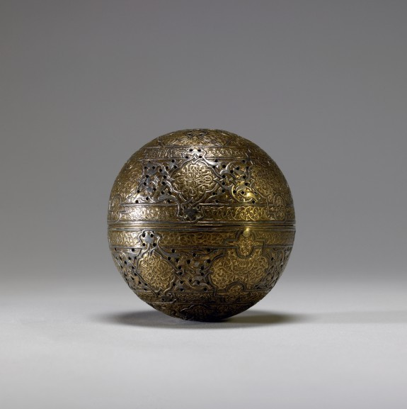 Incense Burner or Handwarmer from the 15th century Gilded metal objects were long believed to have been made by Muslim craftsmen working in Venice during the Renaissance. It now seems more likely that they were made in Islamic lands for export to Europe. Muslim artisans often decorated their export wares with the geometric patterns, medallions, and foliage scrolls (known as arabesque designs) typical of Islamic art. The Walters