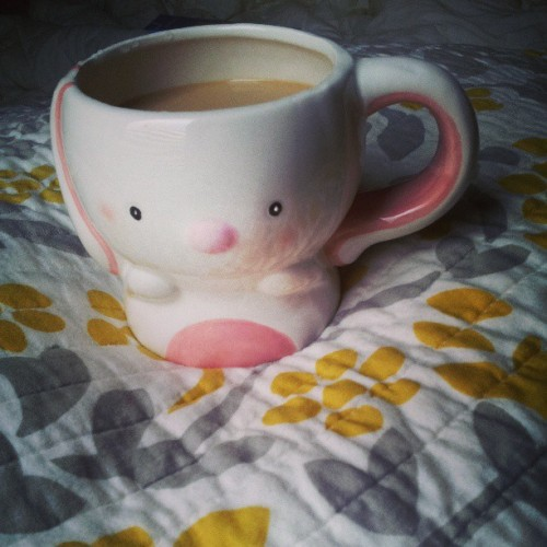 My new bunny coffee mug! :D #cute #coffee #bunny #rabbit