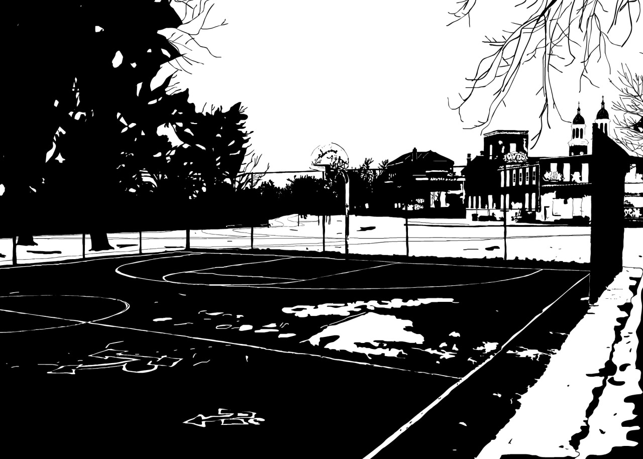 "I love this basketball court. It is in the neighborhood just beside my own in Buffalo — a neighborhood called Black Rock. From one angle, you can see many trees lining a beautiful river that bike paths follow in parallel. From another, there are wonderfully graffiti-ed buildings and the dual steeples of a Catholic church. Just behind the court (and not shown in the drawing) is a hill that leads to Buffalo's largest grocery store (Wegmans). The hill barely keeps the store at bay from becoming a complete eyesore, and it lends the court an air of secrecy and privacy. Buffalo has many other basketball courts displayed more prominently in its larger parks that people use far more. This one remains my favorite if only because it is a hidden gem that seems to only be used by the residents of the Black Rock neighborhood. On a note only somewhat related to this actual court, if you look closely at the backboard, the word ""bcuz"" is spray painted there. Someone (or a group of someones) go around Buffalo and graffiti stuff with this word and sometimes with a few words like ""bcuz I don't care about your guardrail."" The idea being they are spray painting stuff just for the sake of spray painting stuff. I happen to love it, and one can find that graffiti almost everywhere. Check out this post to learn how to contribute to the My Stomping Grounds image collection.  Buy a canvas print of this drawing."