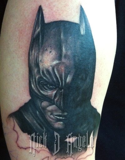 batman portrait done by Nick D'Angelo from inkmaster