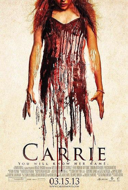 totalfilm:   New blood-spattered poster for Carrie Sony's upcoming remake of Carrie has received a grisly new poster, but has also been delayed by a good seven months from its original release date…