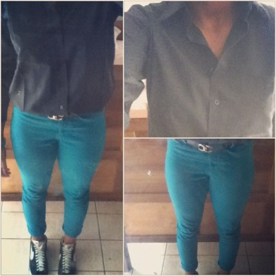 #Today #outfit #ootd #blue #jean #camisa #negra #black #nike #white