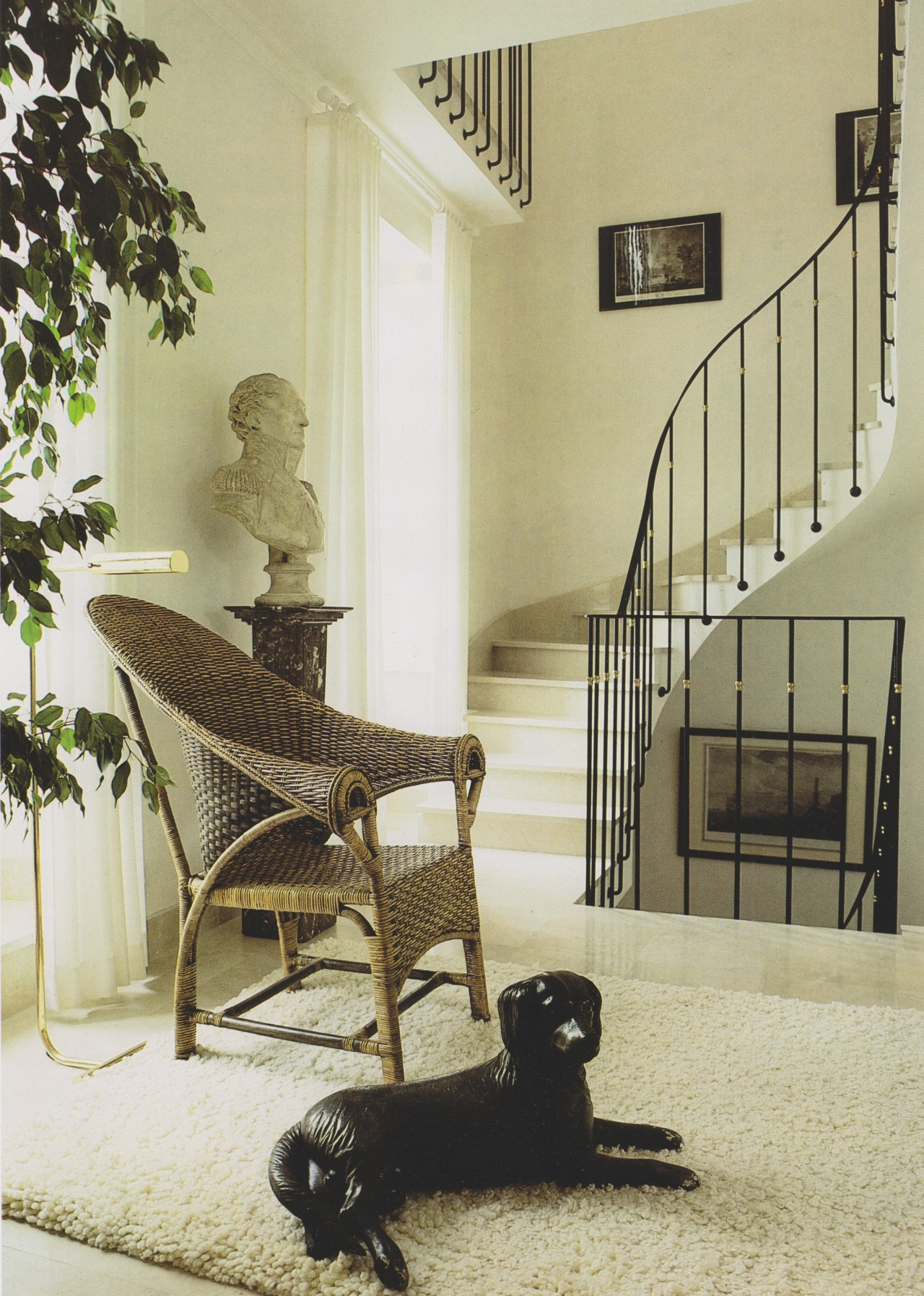 The French Touch: Decoration and Design in the Most Beautiful Homes in France, 1988 #vintage#vintage interior#1980s#interior design#home decor#apartment#staircase#iron#ballustrade#dog sculpture#wicker chair#white interior#house plants#marble bust#French#modern#classical#style#home