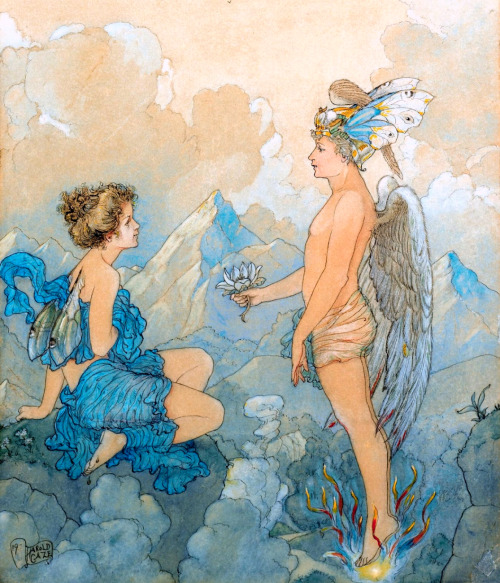 "saveflowers1:  Art by Harold Gaze (1919 c), ""Eros and Psyche."""