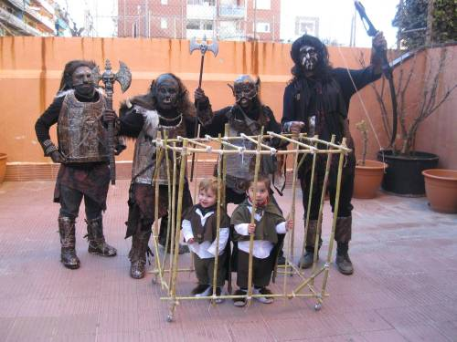 It's Carnival in Spain and all the schools have family costume parties vai reddit.com