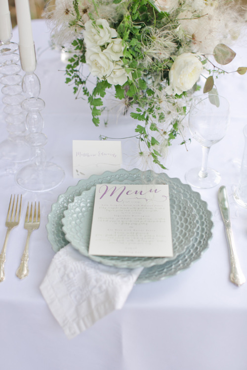 Beautiful table setting with menu card