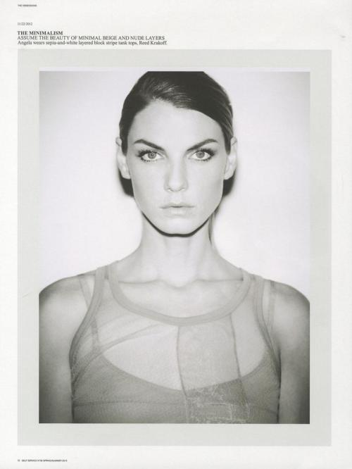 timeless-couture:  Angela Lindvall photographed by Ezra Petronio for Self Service Spring/Summer 2013