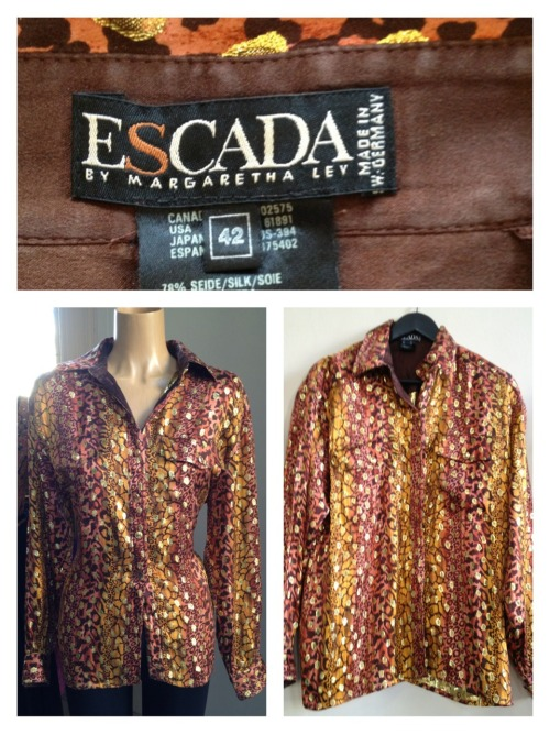 Escada animal print shirt metallic gold