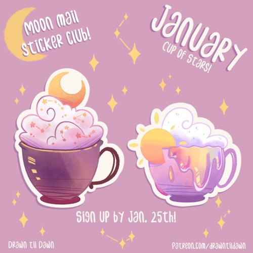 drawntildawn:Hello! I started a patreon stick club called Moon Mail <3 Sign up to receive stickers in the mail every month! This months theme is Cup of Stars⭐You can find me at patreon.com/drawntildawn ! This is the last week to sign up! If you want to receive these stickers at the end of the month, you can sign up by Jan. 25th! If you only wish to participate for one month, you can cancel your renewal at any time! #Patreon#sticker club#stickers#sticker shop#moon aesthetic#moon mail