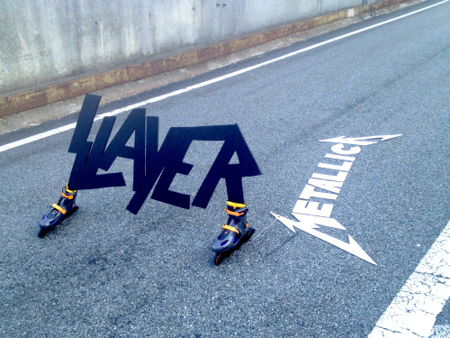 thejogging:  Slayer logo towing a Metallica logo, 2013 Kinetic Sculpture §'⊃