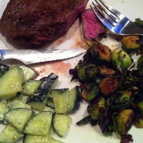 Roast in butter, sage, truffle salt w/brussel sprouts, bacon, garlic & cucumber salad #boss
