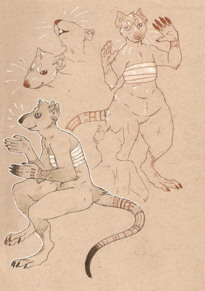 whenthewolfcomeshome:  sketches of a rat lady character I've been pondering for a few months
