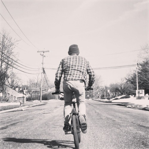 Ride to Live, Live to Ride #bmx #bw #bike #me #flannel #street #beanie #jeans #ass #sky #spring #warm #shadow #myupload