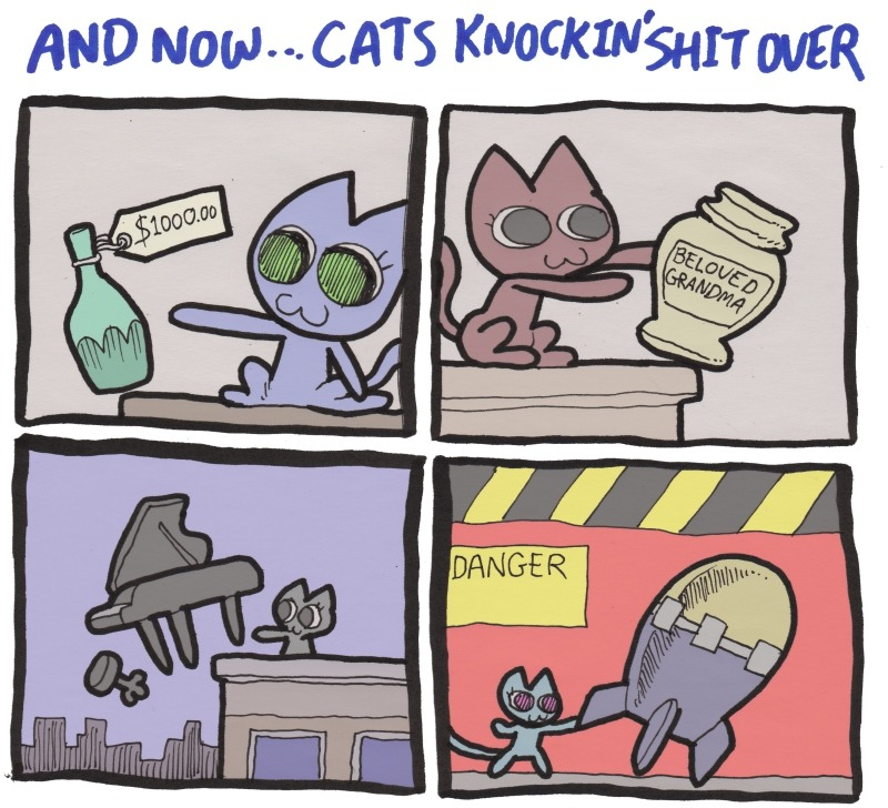 sketchamagowza:  Cats Knockin Shit Over