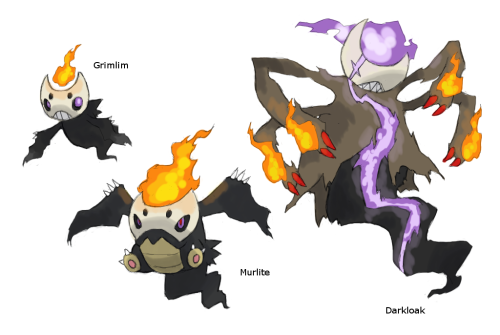 Grimlim —> Murlite —> Darkloak Type Unknown (Ghost/Fire ??) Source. Artist: KurokiKumo