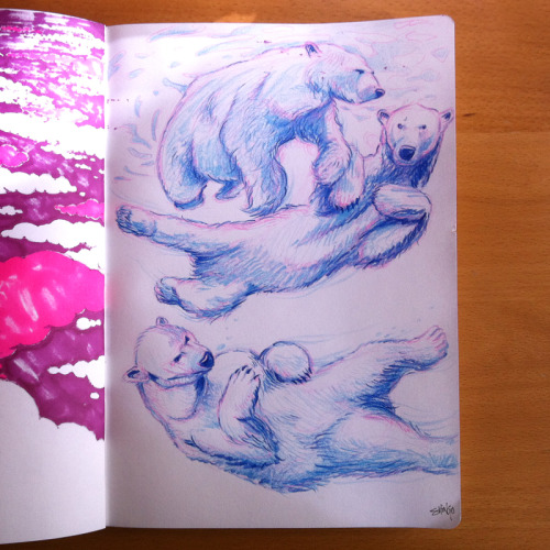 shingosketchbook:  Sunday Skinny Dippin' w Polar Bears. #polarbear #illustration #sketchbook #skinnydip Art by Shingo Shimizu. www.shingo.ca