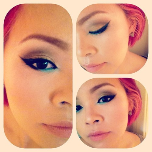 Playing around with my @sugarpillmakeup goodies. :] Using bulletproof, mochi, and goldilux. I'm obsessed! #sugarpill #eyeshadow #eyeliner #cateyes #color #makeup #fun #ilovebeingagirl #pinkhair