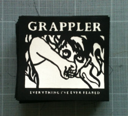 Grappler / Dog Knights Productions - One colour, white print on black fabric. Check out Grappler on tour with Cavalcades next week! Dates are here!