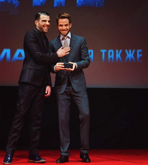 Chris Pine & Zachary Quinto → Into Darkness Premiere Moscow, Russia [source]