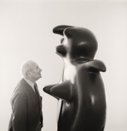 christiesauctions: Joan Miró with his work, Femme, at the Gaerie Maeght, Paris, 1970.