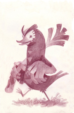 "A farfetch'd! This one was also drawn from memory after a friend described it as being a ""Duck with angry eyebrows and hand wings holding a leek""   What did he even do with that leek? Beat his enemies? Feed his family? freshen his breath?"
