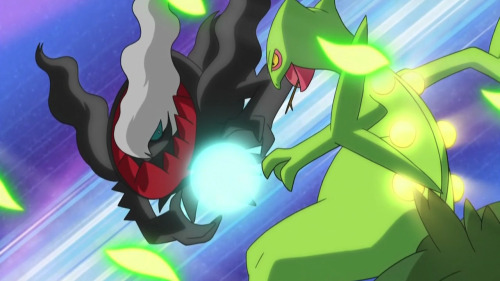 pocketomnsters:  Sceptile vs Darkrai