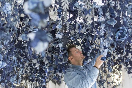 denim denim art secret garden ian berry art installation garden