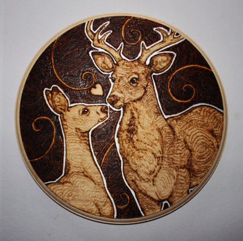 Deer Love by *BumbleBeeFairy Gift for my fiance :) Deer woodburning (into sycamore)