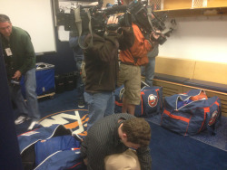 More news crews came to film an empty locker room on clean-out day than came to any single regular season game.   Thank You Playoffs.