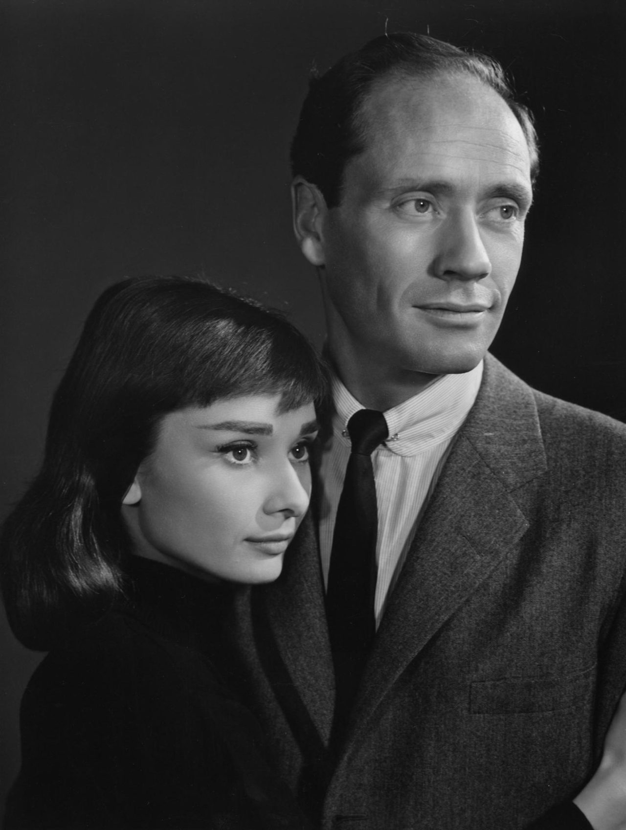 Audrey Hepburn and Mel Ferrer photographed by Yousuf Karsh on Mar 23, 1956.
