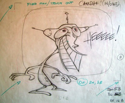 "jwclapton:  Original production drawing for ""Stimpy's Invention,"" 1991. (Credit: Spümcø/Nickelodeon)"