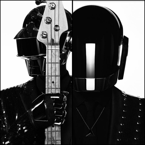Your daily dose of cool is brought to you by #DaftPunk in sequined #LeSmoking by #HediSlimane for SaintLaurentMusicBook. #GetLucky