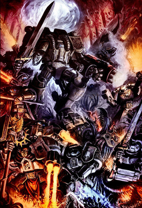 Grey Knights with Dread Knight support destroying Daemon spawn in the Emperors name