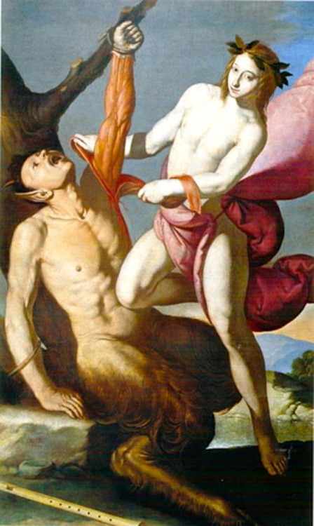blackpaint20:  Antonio de Bellis, Apollo and Marsyas, 17th century