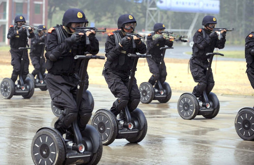 Nothing strikes terror into the enemy's eyes like a soldier on a segway…