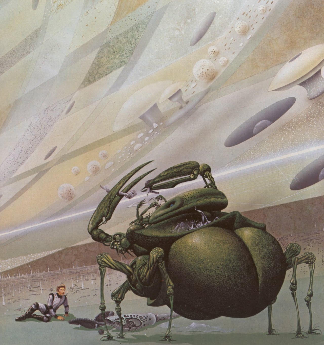 First Contact by Jim Burns - Illustration for Rendezvous with Rama by Arthur C. Clarke