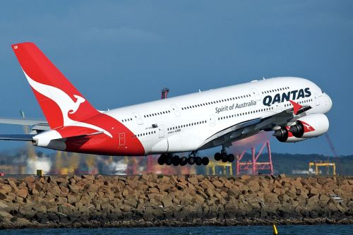 Qantas Airbus A380 takes off from Sydney Airport