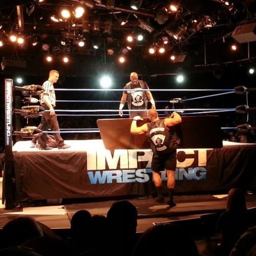 A table was used tonight, but it was Jeff Hardy putting Devon through it. Super fun stuff. #wrestling