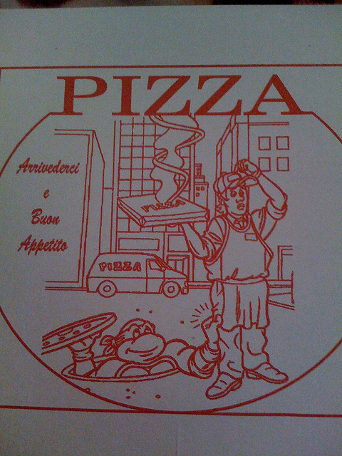 tokka:  Coolest Pizza box ever (found in Kabul Afghanistan) by jorr81 on Flickr. Via Flickr: I got a pizza tonight in Kabul, and it came in this box. I am pretty sure they didn't pay the licensing fee to use a Ninja Turtle…  This is amazing.