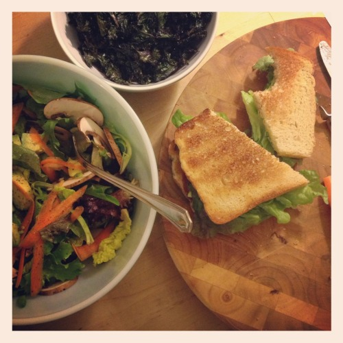 On the menu tonight: simple salami sandwich, big salad, & fresh kale chips