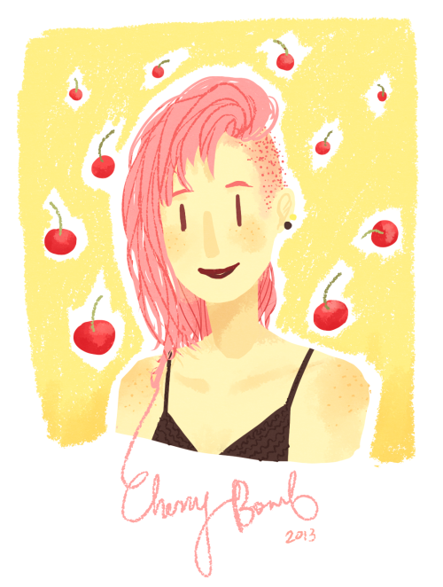 drew my oc while listening to Cherry Bomb on loop!