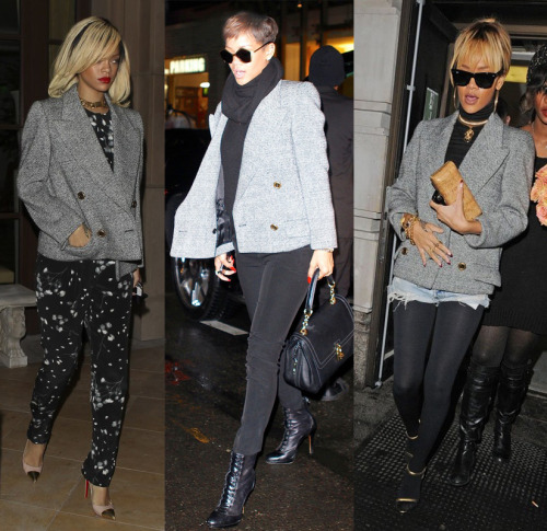 . @Rihanna loves her…. gray tweed double breasted jacket.