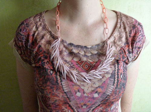 Reeds necklace in peach/ecru by Marmalade P on Flickr.