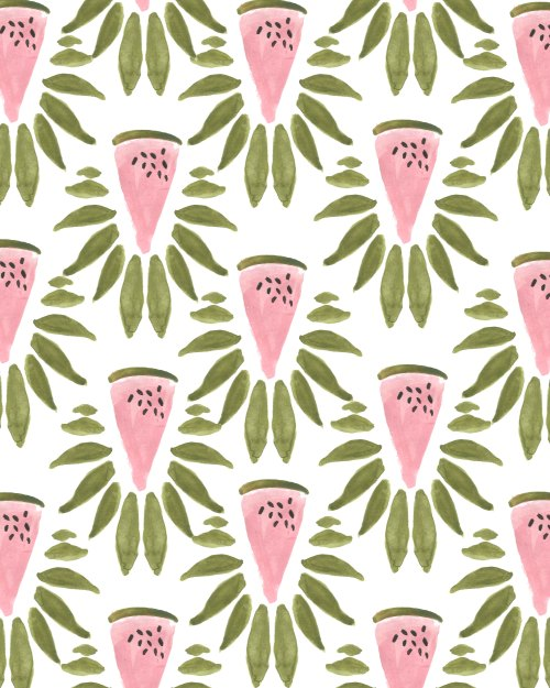 Watermelon and Leaves Print.