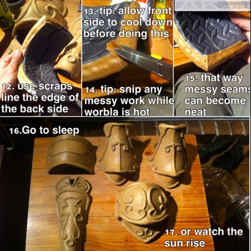tmirai:   Foam and Worbla armour MEGA TUTORIAL Tutorial by AmenoKitarou  Super duper awesome and helpful! I am totally going to try this out for my Garrosh cosplay.
