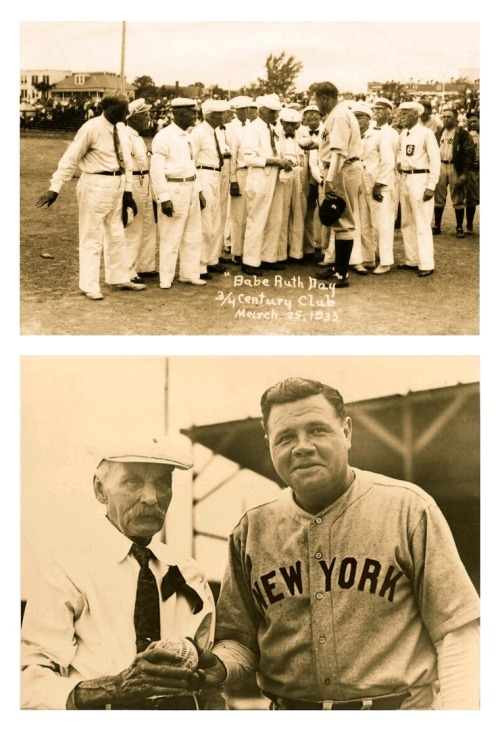 """Babe Ruth Day"" From The 3/4 Century Club St. Petersburg, Florida - March 25, 1933Eighty years ago today! From the original wire caption: ""Babe Ruth is more accustomed to affixing his signature to baseballs than receiving an autographed sphere. But here he's being presented a ball by Charles W. Eldridge, 102, a member of the Three Quarter Century Club, at St. Petersburg, Fla. The ball is inscribed with the names of members of the club all of whom are over 75 years of age."""
